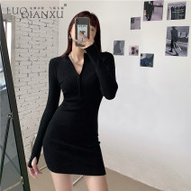 Dress Winter 2020 Black, gray S,M,L,XL Short skirt singleton  Long sleeves commute V-neck High waist Solid color Socket One pace skirt routine Hanging neck style 25-29 years old Type A Luo qianxu Korean version zipper 8715-4 31% (inclusive) - 50% (inclusive) knitting polyester fiber