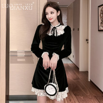 Dress Autumn of 2019 black S,M,L,XL,2XL Short skirt singleton  Long sleeves commute Crew neck High waist Solid color Socket A-line skirt routine Others 18-24 years old Type H Luo qianxu Korean version 8490-1 81% (inclusive) - 90% (inclusive) polyester fiber