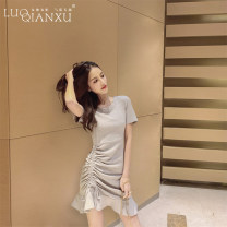 Dress Summer of 2019 Black, gray S,M,L,XL,2XL Short skirt singleton  Short sleeve commute Crew neck High waist Solid color Socket Ruffle Skirt routine Breast wrapping 18-24 years old Type H Luo qianxu Korean version 8277-2