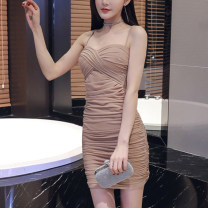 Dress Summer 2020 Khaki [counter quality], black [counter quality] S,M,L,XL,2XL Short skirt singleton  Sleeveless commute square neck High waist Solid color Socket Pencil skirt camisole 18-24 years old Type H Luo qianxu Korean version 8331-6 More than 95% brocade cotton