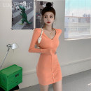 Dress Winter 2020 orange S,M,L,XL Short skirt singleton  Long sleeves commute V-neck High waist Solid color Socket One pace skirt routine 18-24 years old Type H Luo qianxu Korean version Button More than 95% polyester fiber