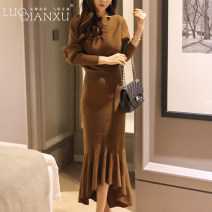 Dress Winter 2020 S,M,L,XL,2XL Mid length dress singleton  Long sleeves commute One word collar middle-waisted Solid color Socket other Bat sleeve Others 18-24 years old Type H Luo qianxu Korean version 81% (inclusive) - 90% (inclusive) knitting other