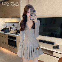 Dress Winter 2020 Gray, black S,M,L,XL Short skirt singleton  Long sleeves commute V-neck High waist Solid color Socket A-line skirt routine 18-24 years old Type H Luo qianxu Korean version fold 8925hq-3 long sleeve More than 95% knitting polyester fiber