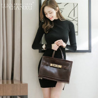 Dress Spring of 2019 Apricot long sleeves [genuine], black long sleeves [genuine] S,M,L,XL,2XL Short skirt singleton  Long sleeves commute Crew neck middle-waisted Solid color Socket Pencil skirt routine Others 25-29 years old Type H Luo qianxu Korean version More than 95% knitting cotton