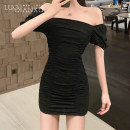 Dress Winter 2020 Black, gray S,M,L,XL Short skirt singleton  Short sleeve commute One word collar High waist Solid color Socket A-line skirt puff sleeve 18-24 years old Type A Luo qianxu Korean version fold 80-99-1-2 91% (inclusive) - 95% (inclusive) brocade polyester fiber