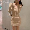 Dress Spring 2020 Black, apricot, pink S,M,L,XL,2XL Short skirt singleton  Long sleeves commute V-neck middle-waisted Solid color Socket Pencil skirt routine Others 18-24 years old Type H Luo qianxu Korean version 8818-1 81% (inclusive) - 90% (inclusive) cotton