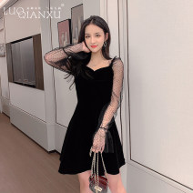 Dress Autumn of 2019 Black [counter quality] S,M,L,XL,2XL Short skirt singleton  Long sleeves commute square neck High waist Solid color Socket A-line skirt routine Others 18-24 years old Type H Luo qianxu Korean version 8488-1 81% (inclusive) - 90% (inclusive) other polyester fiber