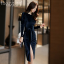 Dress Autumn of 2019 Black [genuine counter], dark blue [genuine counter] S,M,L,XL,XXL Middle-skirt singleton  Long sleeves commute Crew neck middle-waisted Solid color zipper Pencil skirt routine Breast wrapping 25-29 years old Type X Luo qianxu Korean version Bowknot, lace up, stitching, zipper