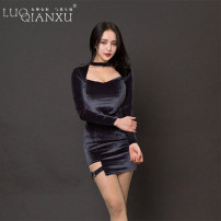 Dress Autumn of 2019 S,M,L,XL Short skirt singleton  Long sleeves commute V-neck middle-waisted Solid color Socket A-line skirt routine Breast wrapping 25-29 years old Type H Luo qianxu Korean version 3D More than 95% corduroy cotton