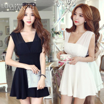 Dress Summer of 2019 Black [genuine counter], white [genuine counter] S,M,L,XL,2XL,3XL Short skirt singleton  Sleeveless commute V-neck High waist Solid color Socket Princess Dress other Breast wrapping 18-24 years old Type H Luo qianxu Korean version bow 30% and below Chiffon cotton