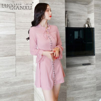 Dress Autumn 2020 Pink S,M,L,XL Short skirt singleton  Long sleeves commute High collar High waist Solid color zipper Ruffle Skirt bishop sleeve Others 18-24 years old Type H Luo qianxu Korean version 8059-2