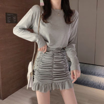 Dress Spring 2020 Grey [counter quality], black [counter quality], pink [counter quality] S,M,L,XL,2XL Short skirt singleton  Long sleeves commute Crew neck High waist Solid color Socket Ruffle Skirt routine Others 18-24 years old Type H Luo qianxu Korean version 8886-3 More than 95% brocade cotton