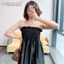 Dress Spring 2021 Black, white S,M,L,XL Short skirt singleton  Sleeveless commute One word collar High waist Solid color Socket routine camisole 18-24 years old Type A Luo qianxu backless 82-78 polyester fiber