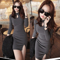 Dress Spring of 2019 Grey [genuine counter], black [genuine counter] S,M,L,XL,2XL Short skirt singleton  Long sleeves commute Crew neck middle-waisted Solid color Socket other routine Breast wrapping 18-24 years old Type H Luo qianxu Korean version