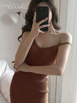 Dress Spring of 2019 Black [genuine counter], gray [genuine counter], stripe [genuine counter] S,M,L,XL,2XL Mid length dress singleton  Sleeveless commute Crew neck middle-waisted Solid color Socket One pace skirt other camisole 18-24 years old Type H Luo qianxu Korean version thread More than 95%