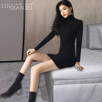 Dress Winter 2020 Black [counter quality] S,M,L,XL,2XL Short skirt singleton  Long sleeves commute Crew neck High waist Solid color Socket Pencil skirt routine Others 18-24 years old Type H Luo qianxu Korean version 8417-1 81% (inclusive) - 90% (inclusive) brocade cotton