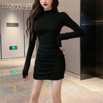 Dress Spring 2021 Grey [counter quality], black [counter quality] S,M,L,XL,2XL Short skirt singleton  Long sleeves commute Crew neck middle-waisted Solid color Socket Pencil skirt routine Others 18-24 years old Type H Luo qianxu Korean version 8828-1 71% (inclusive) - 80% (inclusive) brocade cotton