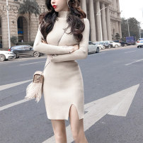 Dress Spring 2020 Apricot, black, white S,M,L,XL,2XL Short skirt singleton  Long sleeves commute Crew neck High waist Solid color Socket One pace skirt routine Others 18-24 years old Type H Luo qianxu Korean version 81% (inclusive) - 90% (inclusive) cotton