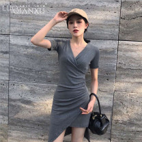 Dress Summer of 2019 Grey [genuine counter], black [genuine counter] S,M,L,XL,2XL Short skirt singleton  Short sleeve commute V-neck High waist Solid color Socket Irregular skirt routine Others 18-24 years old Type H Luo qianxu Korean version More than 95% brocade other