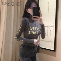 T-shirt grey S,M,L,XL Winter 2020 Long sleeves Crew neck Self cultivation Regular routine commute cotton 96% and above 18-24 years old Korean version youth letter Luo qianxu 809-2 printing