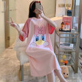 Nightdress Yu Xiaoxiao 160 (m), 165 (L), 170 (XL), 175 (XXL), pay attention to small gifts from the store, buy 2 pieces in the whole store, and automatically reduce 5 yuan if you take a picture Sweet Short sleeve Leisure home Middle-skirt summer Cartoon animation youth Crew neck cotton printing