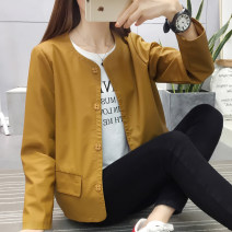 short coat Autumn of 2018 M L XL XXL Long sleeves routine routine singleton  Self cultivation commute routine Crew neck Single breasted Solid color 25-29 years old Maple flower 96% and above Pocket button other PU Exclusive payment of tmall