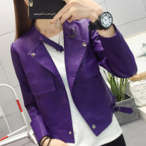 short coat Autumn of 2018 M L XL XXL violet Long sleeves routine routine singleton  easy commute routine stand collar Single breasted Solid color 18-24 years old Maple flower 96% and above Pocket button panel FD10159854 other PU Pure e-commerce (online only)