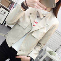 short coat Spring of 2018 M L XL XXL BEIGE BLACK Long sleeves have cash less than that is registered in the accounts routine singleton  Self cultivation commute routine stand collar Single breasted Solid color 18-24 years old Maple flower 96% and above Pocket button other PU