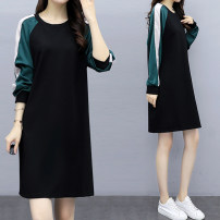 Women's large Autumn 2020 Picture color XL [recommended 100-120 kg] 2XL [recommended 120-140 kg] 3XL [recommended 140-160 kg] 4XL [recommended 160-180 kg] 5XL [recommended 180-200 kg] Dress singleton  commute easy moderate Socket Long sleeves Solid color Korean version Crew neck Medium length Collage
