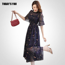 Dress Summer 2020 Picture color S M L XL XXL Mid length dress singleton  elbow sleeve commute Crew neck middle-waisted Broken flowers Socket A-line skirt Lotus leaf sleeve Others 25-29 years old TODAY'S YOU Korean version Zipper with lotus leaf and Auricularia auricula TXZYHC-2028 More than 95%