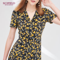 Dress More than 95% silk Summer of 2019 Medium length skirt commute singleton  Short sleeve V-neck middle-waisted other zipper SCOFIELD A-line skirt routine 30-34 years old SFOW92514Q Other Mulberry silk 100% lady Same model in shopping malls (both online and offline) 165 155 160 170 175