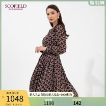 Dress Winter 2020 Mixed color 155 160 170 175 165 Mid length dress singleton  Long sleeves Crew neck middle-waisted lattice 30-34 years old SCOFIELD More than 95% polyester fiber Polyester 100% Same model in shopping mall (sold online and offline)