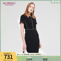 Dress Autumn of 2019 black 155 160 170 175 165 Mid length dress Fake two pieces Short sleeve commute Crew neck middle-waisted Solid color zipper One pace skirt routine Others 30-34 years old SCOFIELD lady 30% and below polyester fiber Same model in shopping mall (sold online and offline)