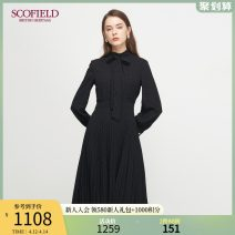 Dress Winter 2020 black 155 160 170 175 165 Mid length dress singleton  Long sleeves commute stand collar middle-waisted other 30-34 years old SCOFIELD SFOWA4T09Q More than 95% polyester fiber Polyester 100% Same model in shopping mall (sold online and offline)