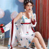 Nightdress Brief printing Manau red M L XL sexy Nine point sleeve pajamas Middle-skirt summer Plants and flowers youth V-neck Polyester (polyester) printing 81% (inclusive) - 95% (inclusive) Satin Silk JY191SY8925 380g Spring of 2019 Polyester fiber 93.4% polyurethane elastic fiber (spandex) 6.6%