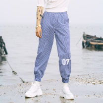 Casual pants Valley boy Fashion City Small blue squares S,M,L,XL thin Ninth pants Other leisure easy Micro bomb Beihai Leggings summer youth tide 2019 middle-waisted Little feet Cotton 65% polyester 35% Overalls Embroidery lattice cotton cotton Original designer 50% (inclusive) - 69% (inclusive)