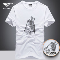 T-shirt Youth fashion routine 165/48A/M 170/50A/L 175/52A/XL 180/54A/XXL 185/56A/XXXL 190/58A/XXXXL 195/60A/XXXXXL Septwolves Short sleeve Crew neck easy daily spring 13574-1D1A30602837Ry Cotton 92.1% polyurethane elastic fiber (spandex) 7.9% youth routine tide Summer 2021 Animal design printing