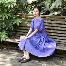 Dress Summer 2020 Purple, apricot, black Average size Mid length dress Short sleeve Sweet Crew neck Loose waist Solid color Socket Big swing puff sleeve 25-29 years old MB91930 More than 95% hemp Mori