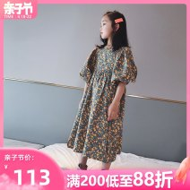 Dress female AI shangduo 120cm 130cm 140cm 150cm 160cm 165cm Cotton 99% other 1% summer Korean version Short sleeve Broken flowers cotton A-line skirt Class B Summer 2021 6 years old, 7 years old, 8 years old, 9 years old, 10 years old, 11 years old, 12 years old, 13 years old and 14 years old