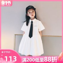 Dress white female AI shangduo 120cm 130cm 140cm 150cm 160cm 165cm Other 100% summer Korean version Short sleeve Solid color cotton A-line skirt ZX21LYQ005 Class B Summer 2021 6 years old, 7 years old, 8 years old, 9 years old, 10 years old, 11 years old, 12 years old, 13 years old and 14 years old