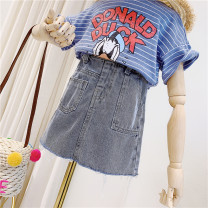 skirt 100cm / tag 5110cm / tag 7120cm / tag 9130cm / tag 11140cm / tag 13150cm / tag 15 Washed denim Other / other female Other 100% summer skirt Europe and America Solid color A-line skirt Denim other