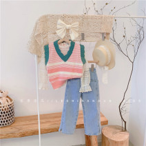 Vest female Hang tag (1357 / 11 cm), hang tag (1057 / 11 cm), hang tag (150 / 100 cm) Other / other spring and autumn routine There are models in the real shooting Socket Korean version cotton stripe 2, 3, 4, 5, 6, 7, 8, 9, 10 years old