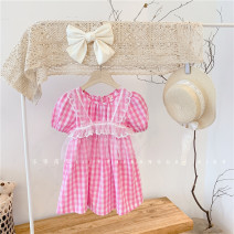 Dress Pink 21110 female Other / other 85CM (tag 90), 95cm (tag 100), 105cm (tag 110), 115cm (tag 120), 125cm (tag 130) Other 100% summer Korean version Short sleeve lattice Cotton blended fabric Splicing style 2, 3, 4, 5, 6, 7, 8, 9, 10 years old