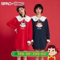 Dress Spring 2020 Red Navy 160/S 165/M 170/L Mid length dress 18-24 years old SPAO SPOMA11D52 81% (inclusive) - 90% (inclusive) cotton Cotton 88% polyester 12%