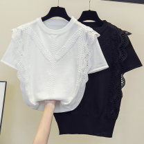 Women's large Summer 2021 White black XL 2XL 3XL 4XL T-shirt singleton  commute easy thin Socket Solid color Korean version Crew neck routine polyester routine Durani Lace stitching Other 100% Pure e-commerce (online only)