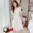 Dress Summer 2021 White pink 2XL S M L XL Mid length dress singleton  Short sleeve commute square neck middle-waisted Solid color zipper A-line skirt puff sleeve 30-34 years old Durani Korean version bow More than 95% Chiffon other Other 100% Pure e-commerce (online only)