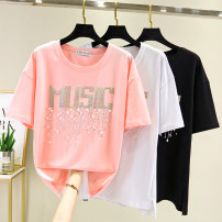 Women's large Summer 2021 White, black, pink L XL 2XL 3XL 4XL T-shirt singleton  commute easy thin Socket letter Korean version Crew neck routine routine Durani Other 100% Pure e-commerce (online only)