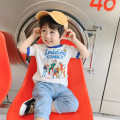 T-shirt white Other / other 80cm,90cm,100cm,110cm,120cm,130cm neutral summer Short sleeve Lapel and pointed collar leisure time cotton Cartoon animation Cotton 95% other 5% Short sleeve Class A 12 months, 18 months, 2 years old, 3 years old, 4 years old, 5 years old, 6 years old
