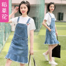 Dress Summer of 2019 One piece denim skirt 19507 white T-shirt + denim skirt S M L XL Middle-skirt singleton  Sleeveless Sweet One word collar middle-waisted Socket A-line skirt other straps Under 17 Straw flower More than 95% cotton Cotton 95% polyester 5% college Pure e-commerce (online only)