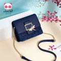 Bag The single shoulder bag PU Small square bag Just star Royal blue sweet pink brand new Fashion trend in leisure time soft Buckle no Solid color Single root One shoulder cross Yes youth Horizontal square chain polyester fiber Clip zipper pocket synthetic leather Inner patch pocket